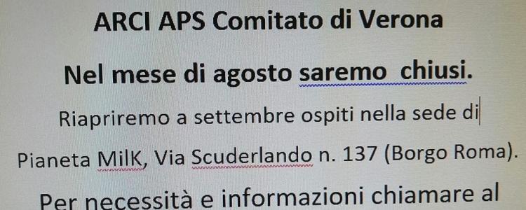 Arci Verona va in ferie!